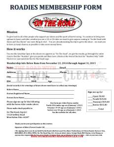 On The Road Membership Form
